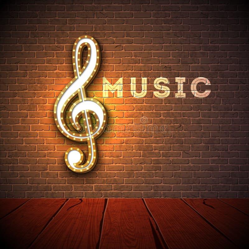 Illustration de musique avec l'enseigne d'éclairage de clé de violon sur le fond de mur de briques Conception de vecteur pour la  illustration stock