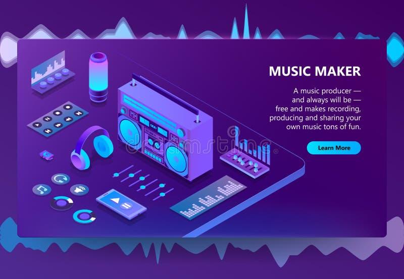 Illustration de musique et de vecteur de production d'enregistrement illustration libre de droits