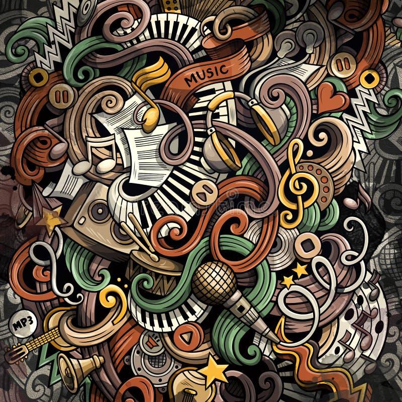 Illustration de musique de griffonnages Fond musical créateur photographie stock libre de droits