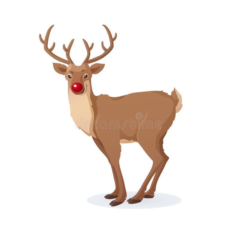 Illustration de Noël de bande dessinée Renne rouge drôle de nez de Rudolph d'isolement sur le blanc Vecteur illustration stock