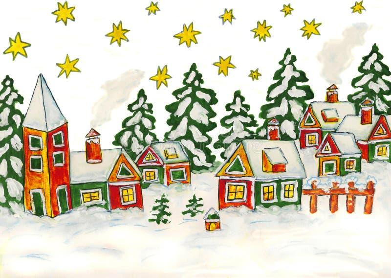 Illustration de Noël dans des couleurs vertes et jaunes illustration libre de droits