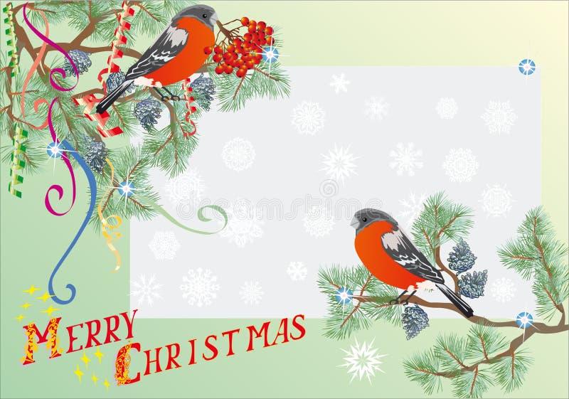 Illustration de Noël de branchements de sapin d'und de Bullfinch illustration de vecteur