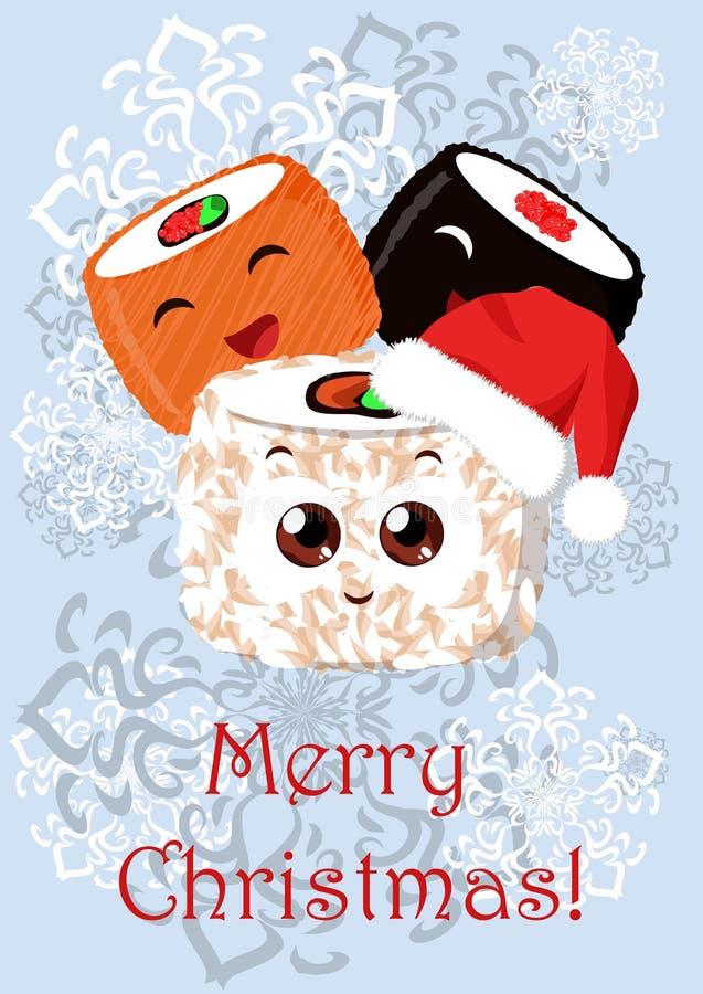 Illustration de Noël de salutation avec l'image des sushi illustration de vecteur