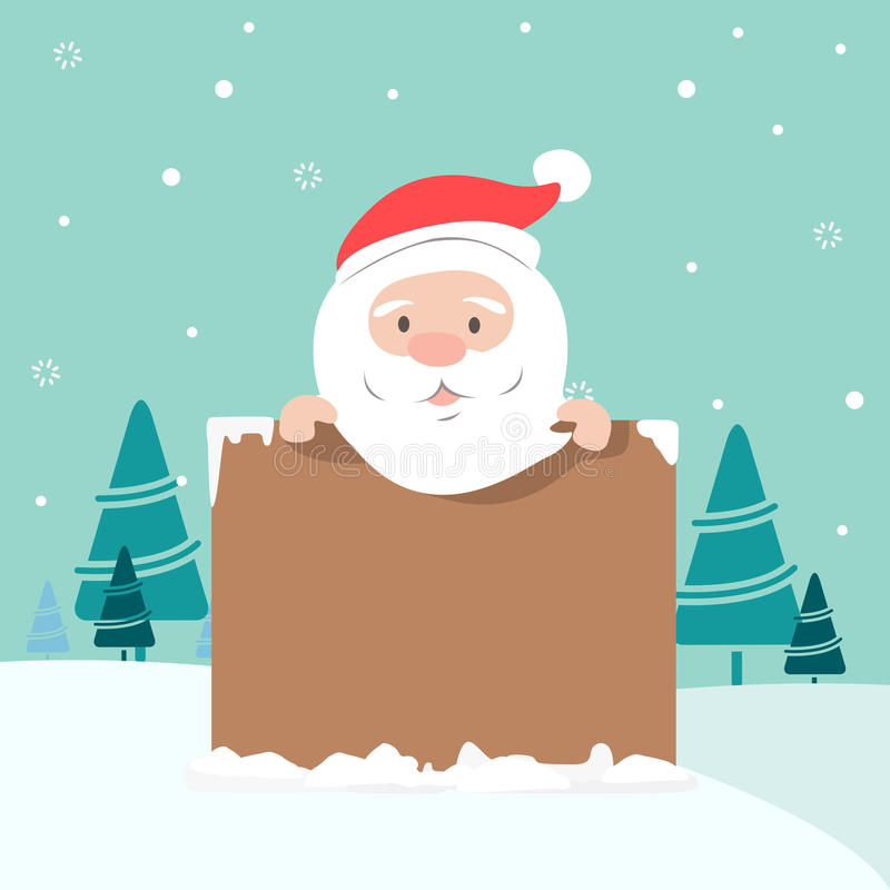Illustration de Noël de Santa tenant le conseil illustration libre de droits