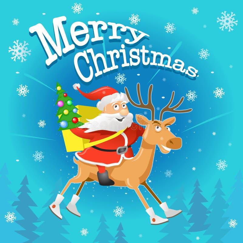Illustration de Noël de vecteur : Bande dessinée drôle Santa Claus et renne illustration de vecteur