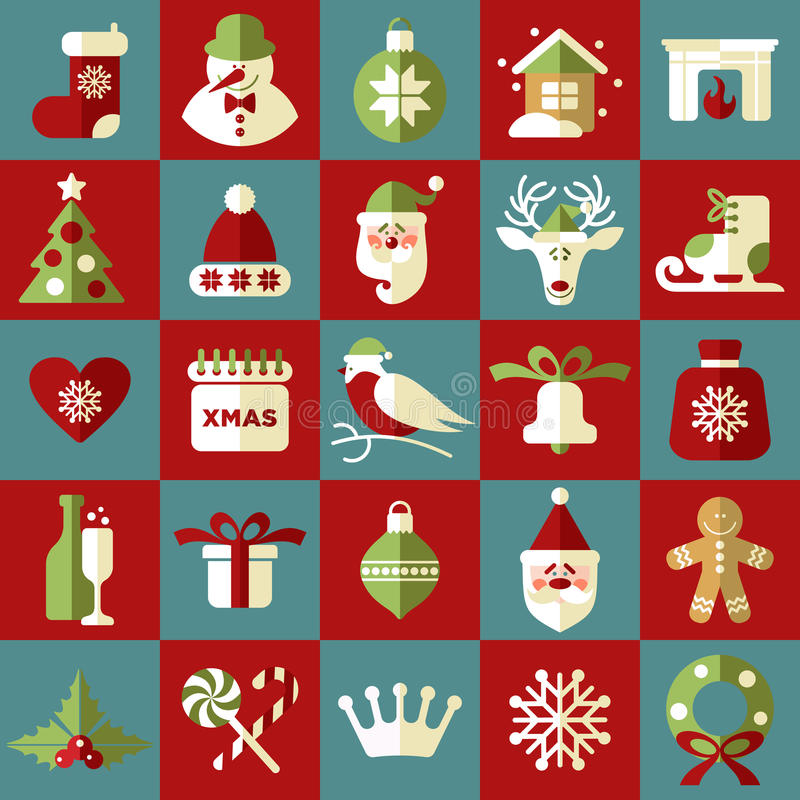 Illustration de Noël Ensemble de vecteur d'icônes illustration de vecteur