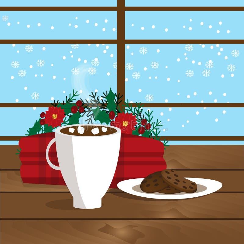 Illustration de Noël de tasse avec du cacao chaud, les biscuits du plat et le plaid près de la fenêtre illustration de vecteur