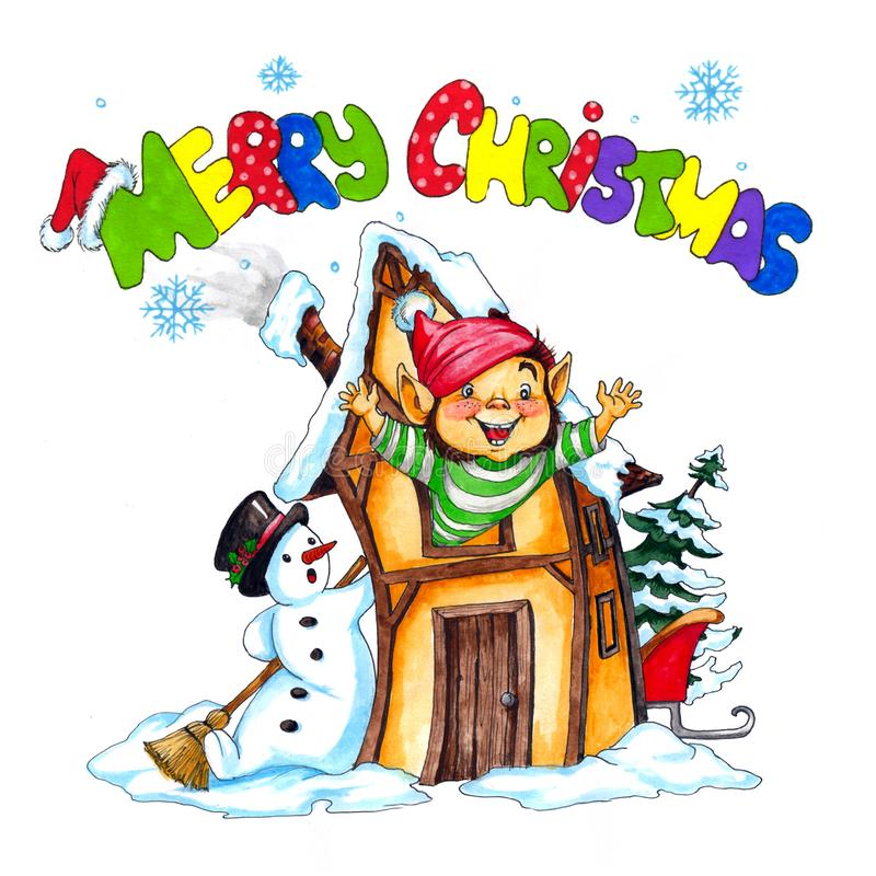 Illustration de Noël de Wattercolor photos stock