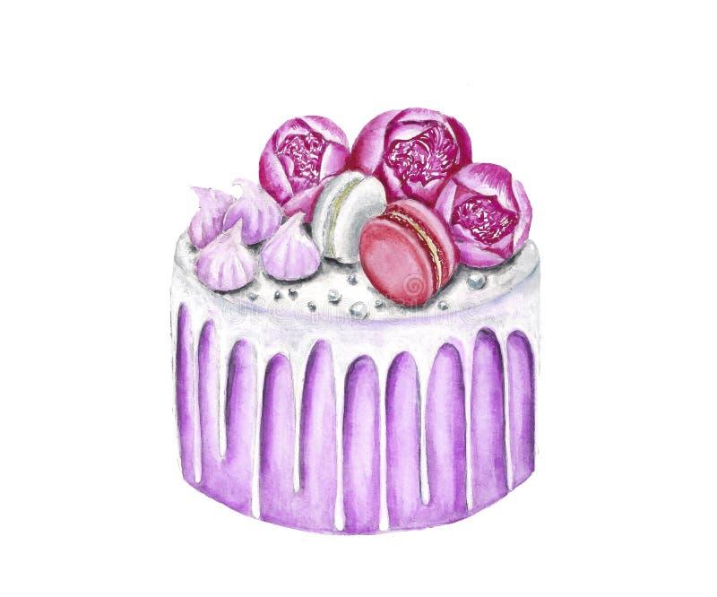 Illustration de nourriture dépeignant un gâteau illustration libre de droits