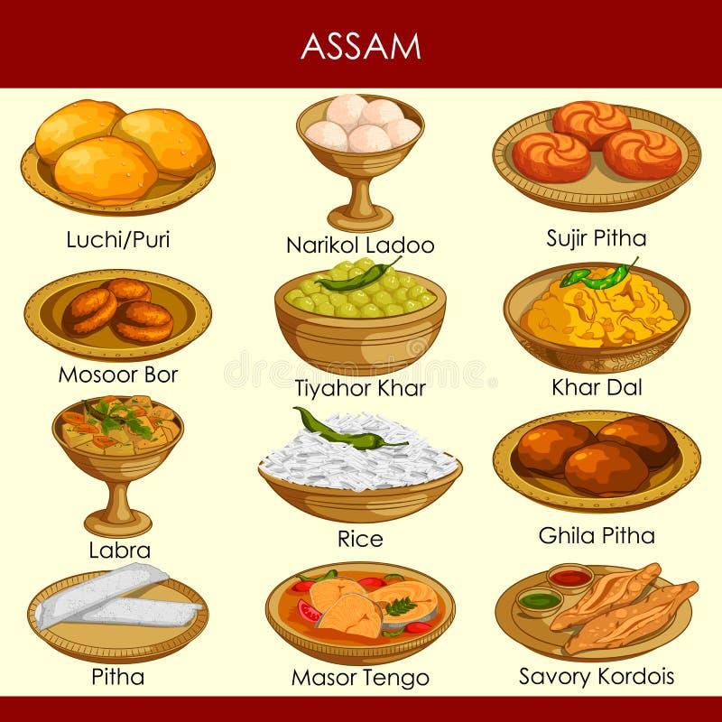 Illustration de nourriture traditionnelle délicieuse d'Assam Inde illustration libre de droits