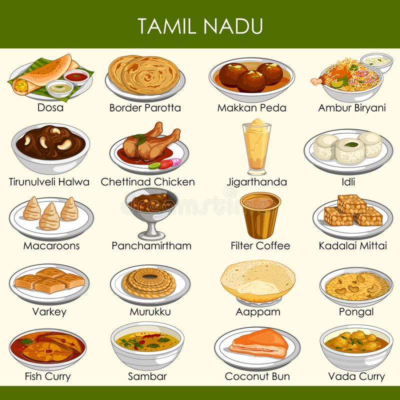 Illustration de nourriture traditionnelle délicieuse de Tamil Nadu Inde illustration stock