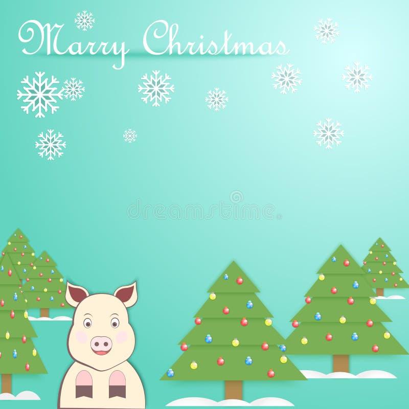 Illustration de nouvelle année de vecteur avec le symbole 2019 de porc photographie stock
