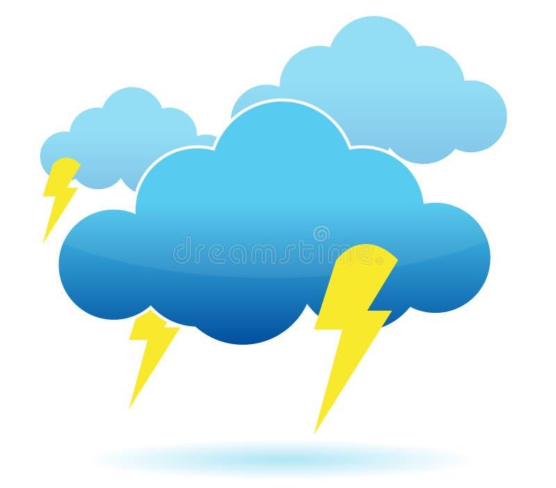 Illustration de nuage et de foudre de tonnerre illustration de vecteur