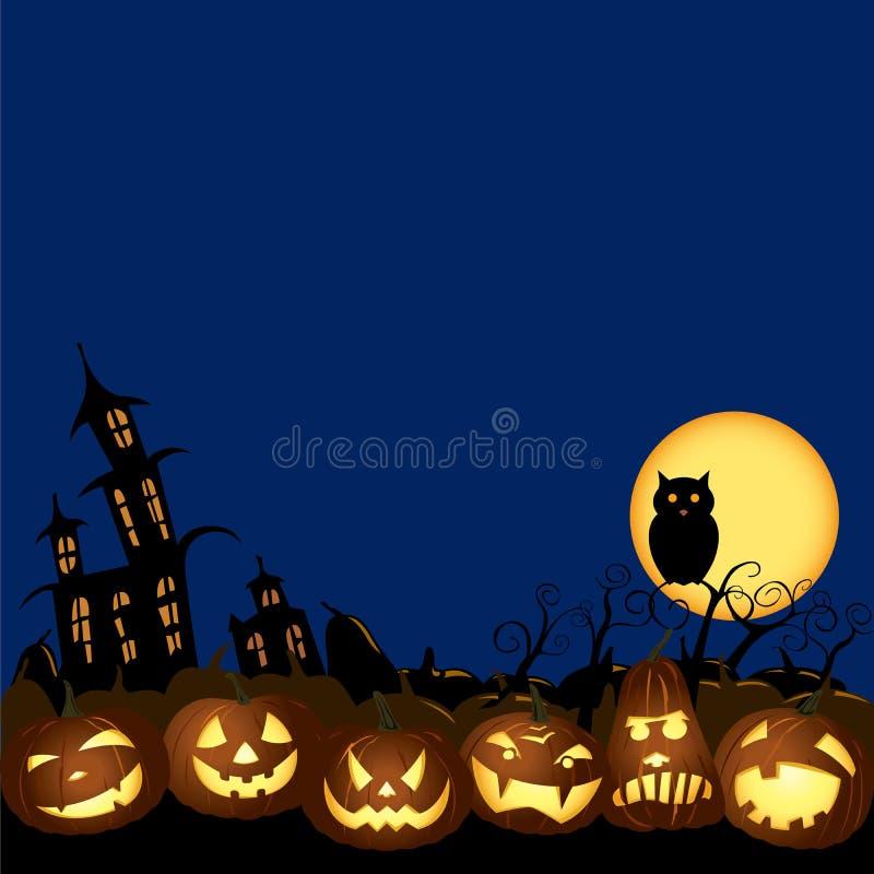 Illustration de nuit de potiron de lanternes de Halloween Jack O illustration de vecteur