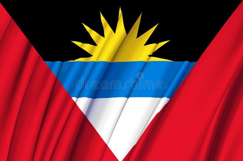 Illustration de ondulation de drapeau de l'Antigua-et-Barbuda illustration stock