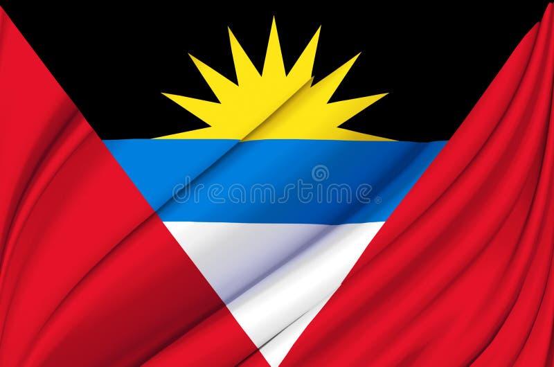Illustration de ondulation de drapeau de l'Antigua-et-Barbuda illustration de vecteur