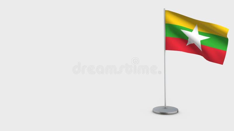 Illustration de ondulation de drapeau de Myanmar 3D illustration libre de droits
