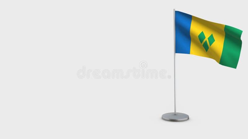 Illustration de ondulation de drapeau de Vincent And The Grenadines 3D de saint illustration de vecteur