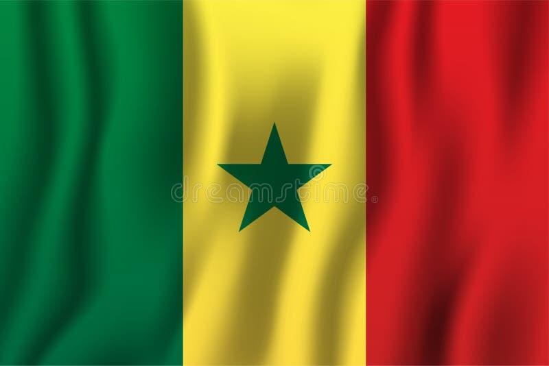 Illustration de ondulation réaliste de vecteur de drapeau du Sénégal Symbole national de fond de pays Fond de grunge de l'indépen illustration libre de droits