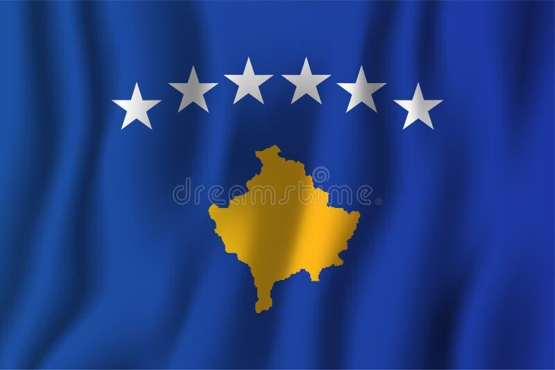 Illustration de ondulation réaliste de vecteur de drapeau de Kosovo Symbole national de fond de pays Fond de grunge de l'indépend illustration libre de droits