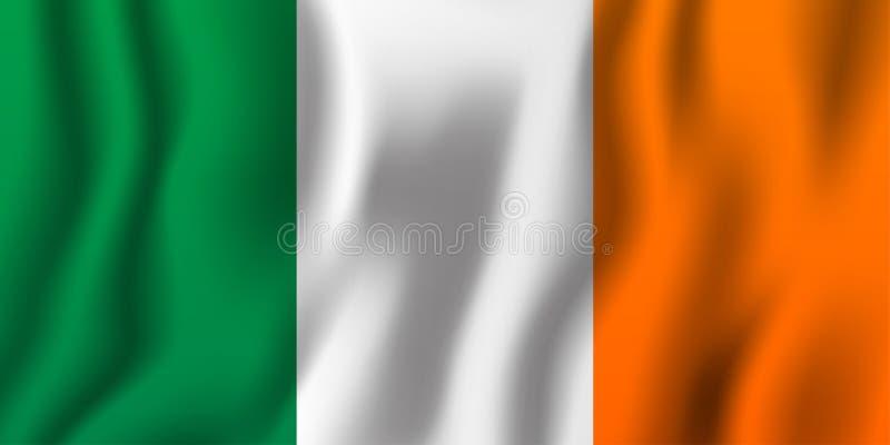 Illustration de ondulation réaliste de vecteur de drapeau de l'Irlande Coun national illustration stock