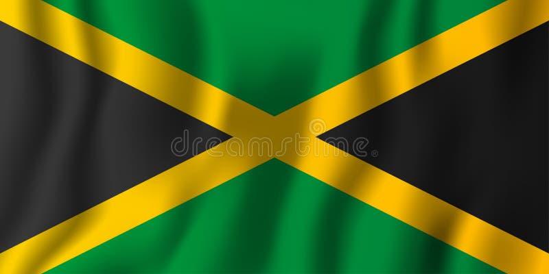 Illustration de ondulation réaliste de vecteur de drapeau de la Jamaïque Coun national illustration stock