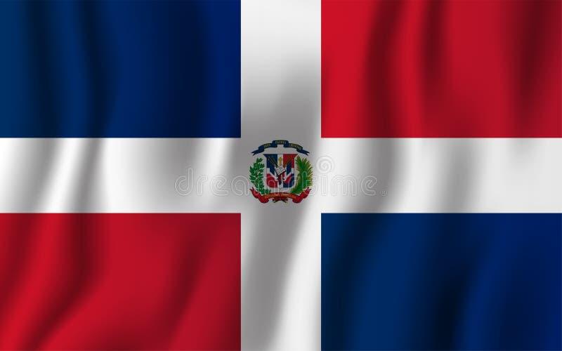 Illustration de ondulation réaliste de vecteur de drapeau de la République Dominicaine  Na illustration stock