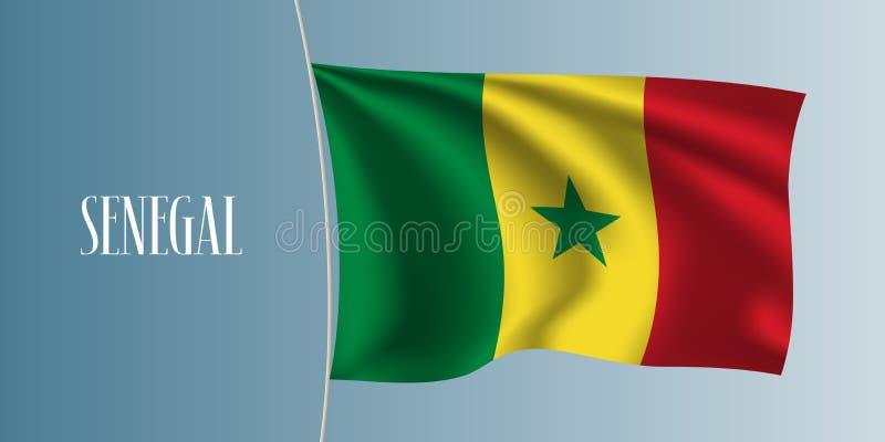 Illustration de ondulation de vecteur de drapeau du Sénégal illustration stock