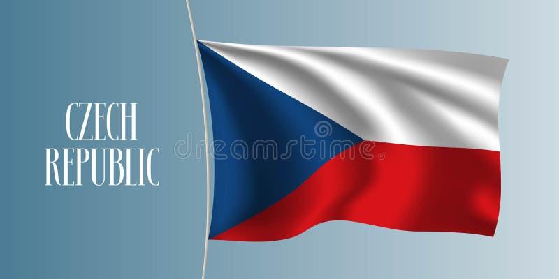 Illustration de ondulation de vecteur de drapeau de République Tchèque illustration libre de droits