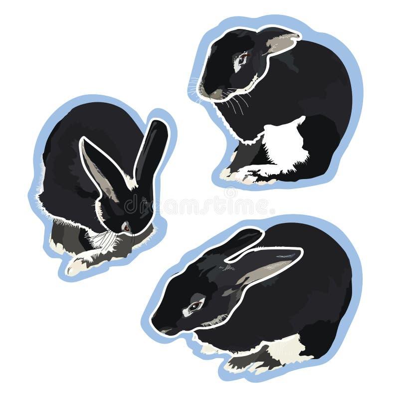 Illustration de P?ques avec les fleurs, le lapin et l'oeuf illustration libre de droits
