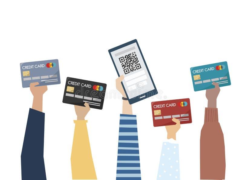 Illustration de paiement en ligne avec la carte de crédit illustration de vecteur
