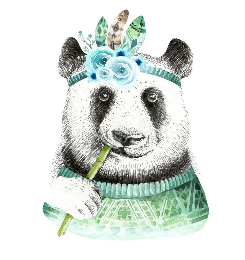 Illustration de panda d'aquarelle Animal mignon de Bohème Style de Boho illustration de vecteur