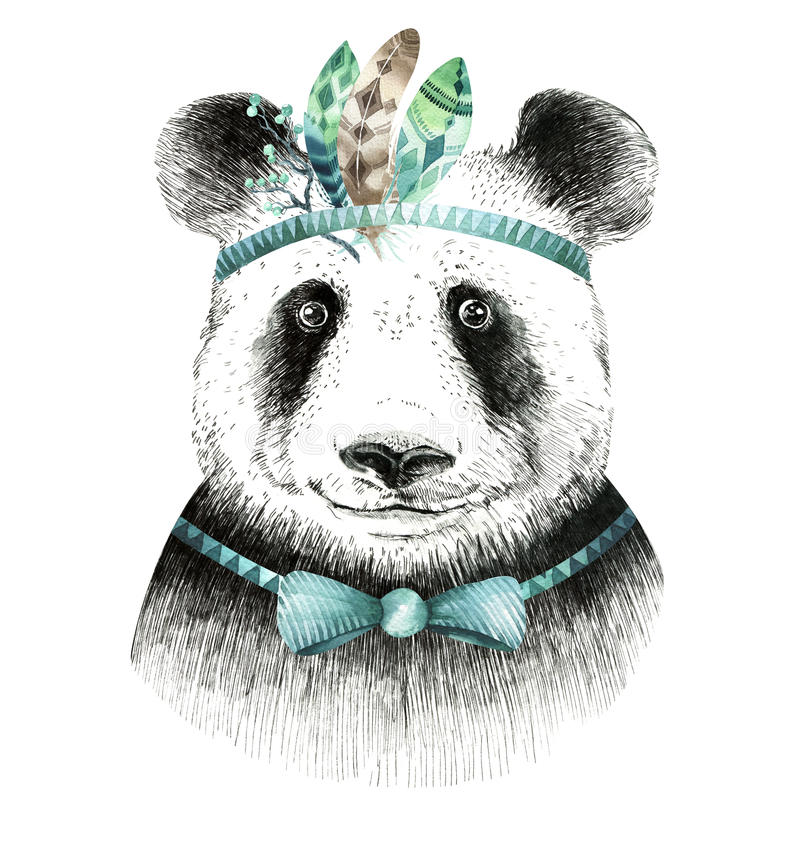 Illustration de panda d'aquarelle Animal mignon de Bohème Style de Boho illustration libre de droits