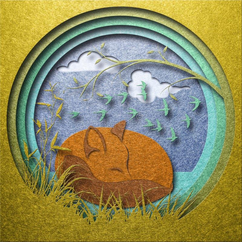 Illustration de papier de coupe-circuit de conte de fées de renard de sommeil photographie stock