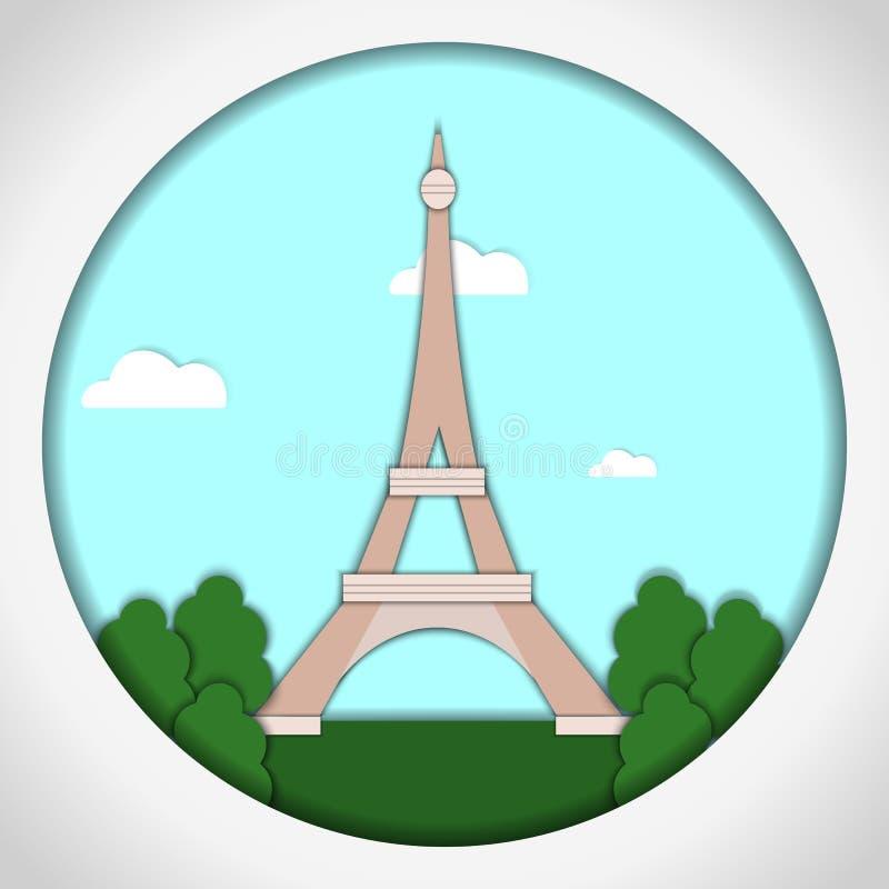 Illustration de papier de vecteur de style d'applique Carte avec l'application de Tour Eiffel, Paris, France postcard illustration stock