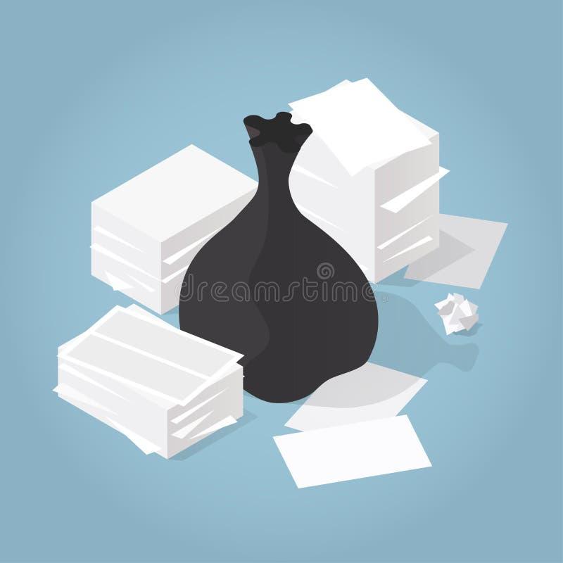Illustration de papier isométrique de déchets illustration libre de droits