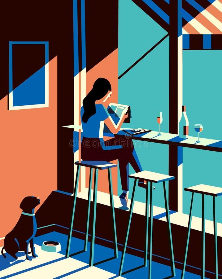 Illustration de papier de nouvelles de lecture de fille illustration stock