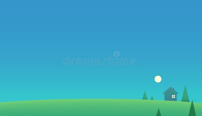 Illustration de papier peint de paysage de champ d'herbe illustration libre de droits