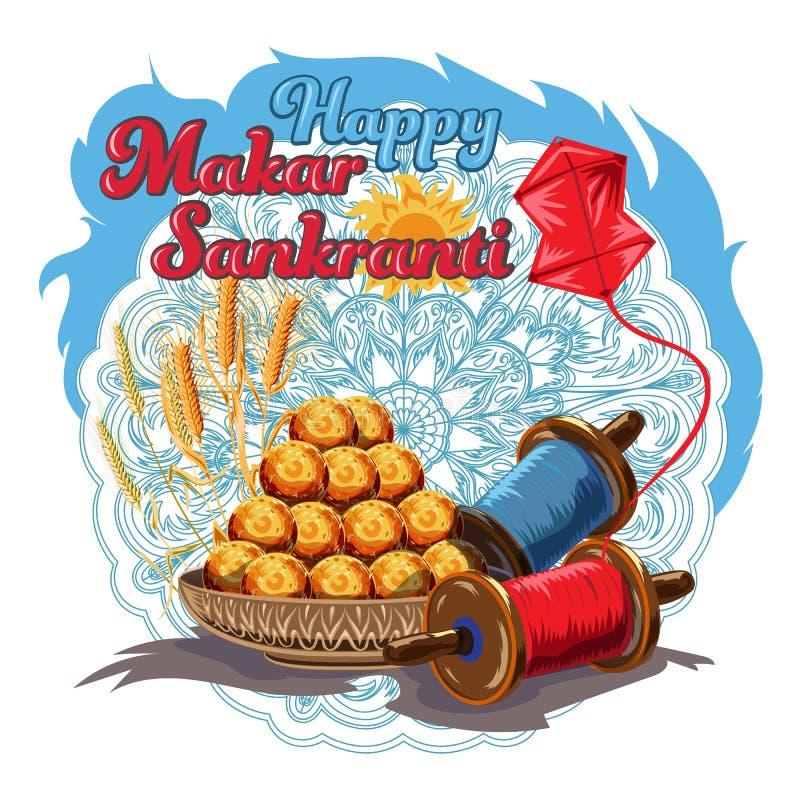 Illustration de papier peint heureux de Makar Sankranti avec de la ficelle colorée de cerf-volant pour le festival de l'Inde illustration de vecteur