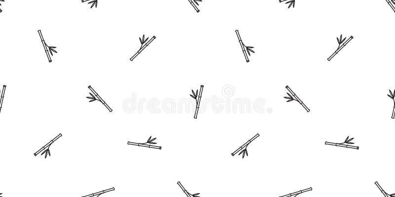 Illustration de papier peint de répétition de bande dessinée de fond de tuile d'isolement par écharpe sans couture en bambou de c illustration libre de droits