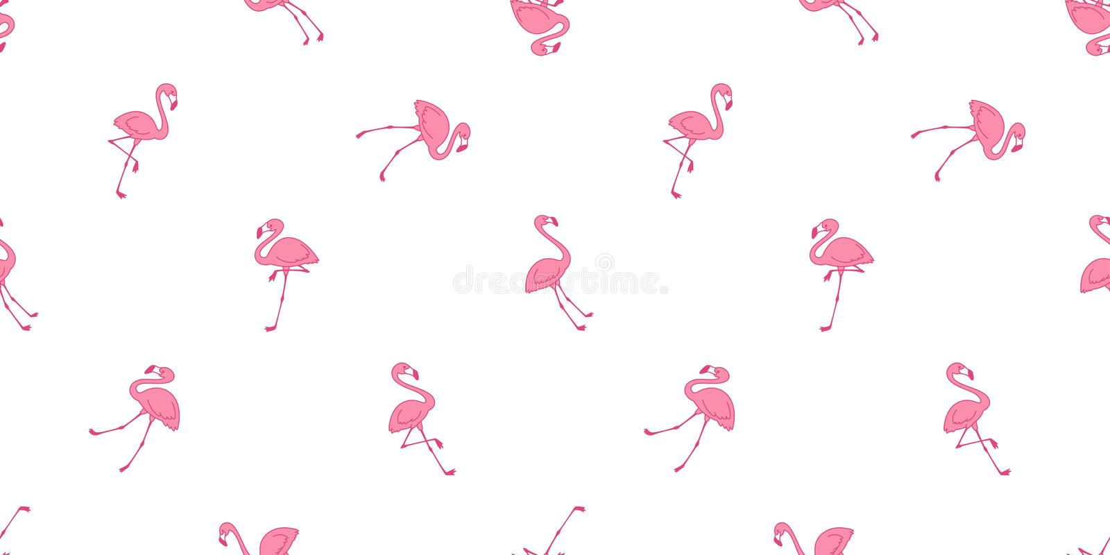 Illustration de papier peint de répétition de fond de tuile d'isolement par écharpe tropicale sans couture de flamants de rose de illustration de vecteur