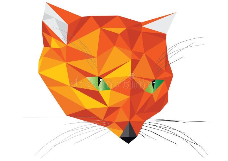 Illustration de papier de tête de renard d'origami orange d'isolement sur le fond blanc illustration stock