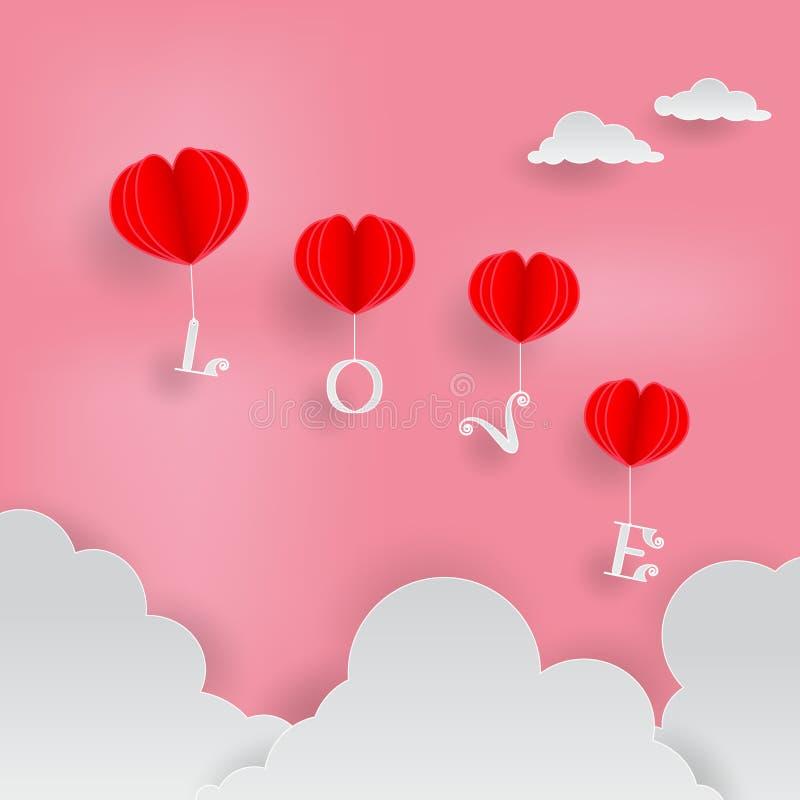 Illustration de papier de vecteur d'art de ballon rouge de forme de coeur et d'alphabets blancs d'amour sur le fond rose de ciel  photos stock