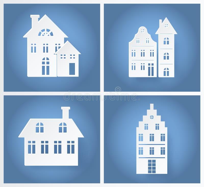 Illustration de papier de vecteur de silhouettes de bâtiments illustration libre de droits