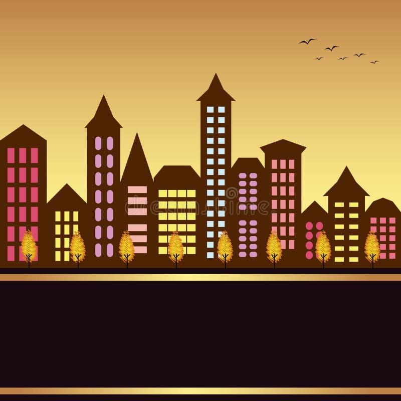 Illustration de paysage urbain d'automne image stock