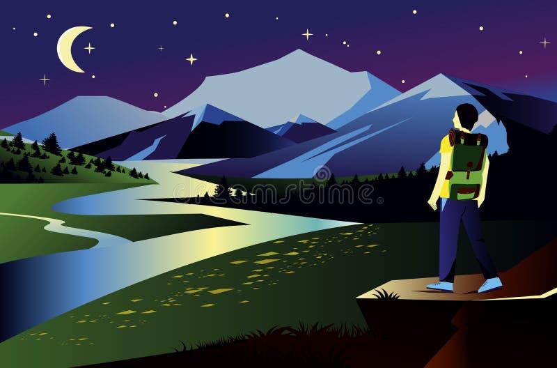 Illustration de paysage de vecteur avec des montagnes dans la nuit Voyageur et vue de rivière avec le ciel, les étoiles et la lun illustration de vecteur