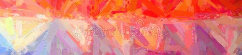 Illustration de peinture à l'huile jaune et bleue rouge avec le grand fond de brosse, bannière abstraite image libre de droits