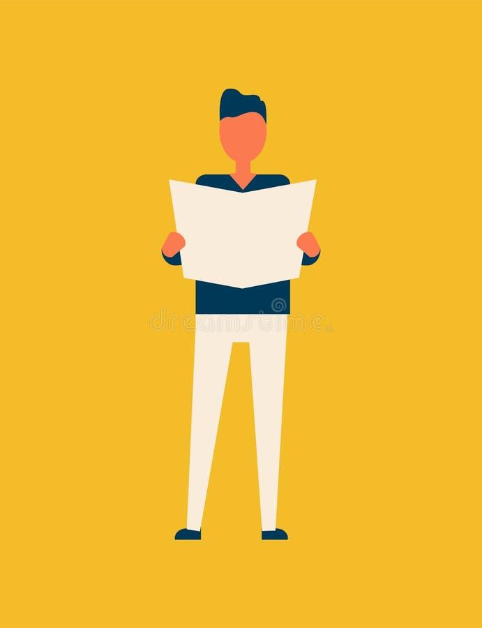 Illustration de Person Male Reading Newspaper Vector illustration stock