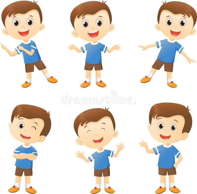 Illustration de personnage de dessin animé mignon de garçon dans les beaucoup action illustration libre de droits