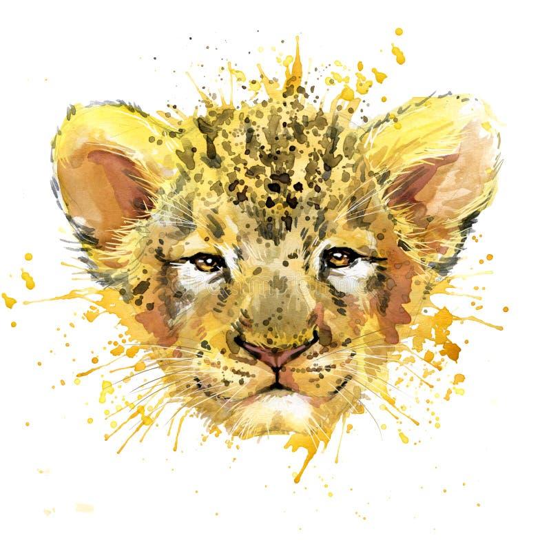 Illustration de petit animal de lion d'aquarelle illustration libre de droits